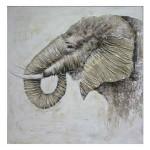Cuadro lienzo Safari elefante de perfil con relieve