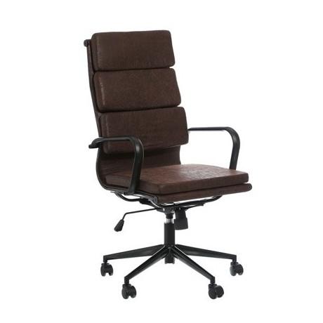 Comprar silla despacho marr n con ruedas acero inoxidable for Silla marron