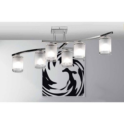 Lámpara de techo Cilindro acabado cromo seis luces pantallas cristal