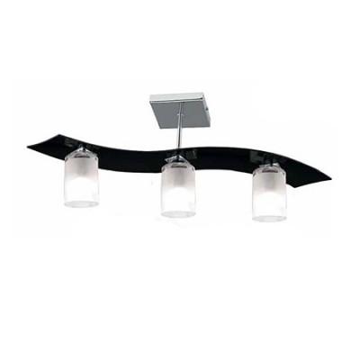 Lámpara moderna Zander cilindro tres luces cristal negro con pantallas opal