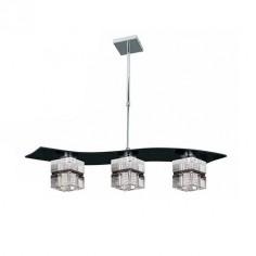 Lámpara de techo Zander Cube tres luces en negro con pantallas cubo