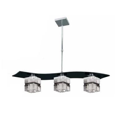 Lámpara de techo tres luces en negro con pantallas cubo