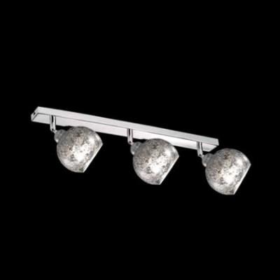 Lámpara regleta tres luces cromo con pantallas en pan de plata