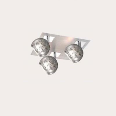 Plafón tres luces Decó en cromo con pantallas en pan de plata