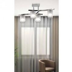 Lámpara Cilindro cuatro luces en cromo y cristal blanco opal