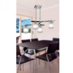 Lámpara Cilindro cuatro luces en cromo y cristal opal
