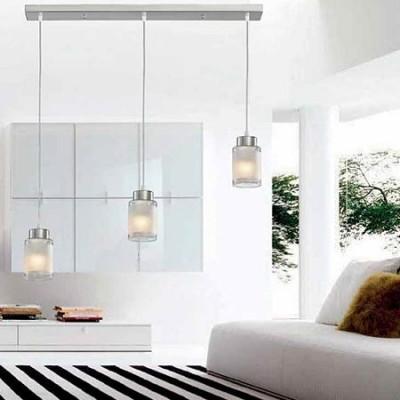 Lámpara de techo lineal Cilindro tres luces cromo y cristal