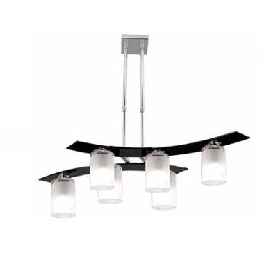 Lámpara Zander cilindro seis luces en cristal negro y opal