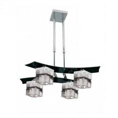 Lámpara cuatro luces Zander cube en cristal negro y cromo