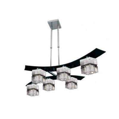 Lámpara Zander Cube seis luces en cristal negro y cromo