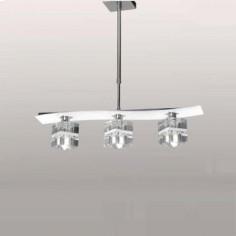 Lámpara moderna Zander White en cristal blanco con tres luces