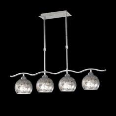 Lámpara cuatro luces Decó en cromo con pantallas en pan de plata