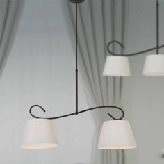 Lámpara Lucia de dos luces en forja marrón óxido y pantalla blanca