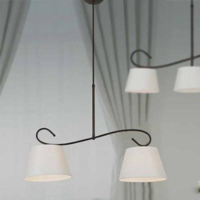 Lámpara Lucia dos luces en forja marrón óxido y pantalla blanca