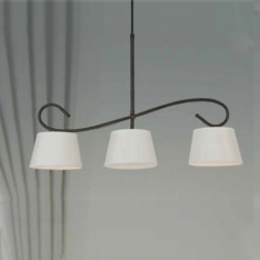 Lampara tres luces Lucia en forja con pantallas en blanco