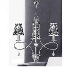 Lámpara Málaga en cromo con pantallas en pan de plata