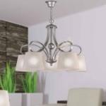 Lámpara de techo Huelva con cinco luces y acabado en pan de plata