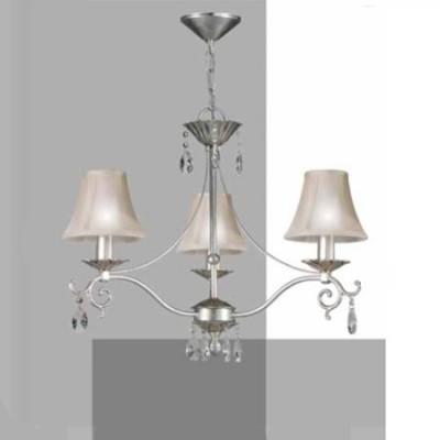 Lámpara Leonor con tres luces acabada en pan de plata