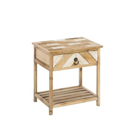 Comprar mesita de noche parket en madera natural con un caj n - Mesitas de noche en madera ...