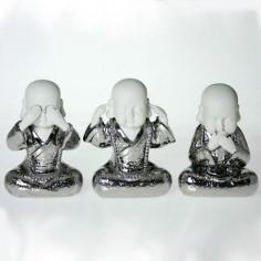 """Figuras monjes """" ver, oír y callar"""" en blanco y plata"""