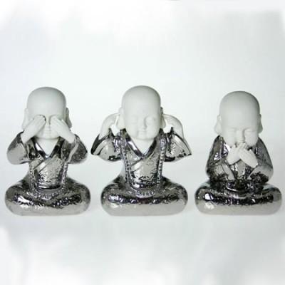 """Figuras monjes """" ver, oír y callar"""" en color blanco y plata"""