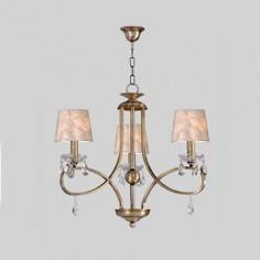 Lámpara de tres luces Cádiz Crystal en color cuero y pantallas en nácar