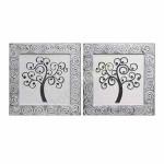 Set de dos cuadros árbol de la vida en colores plata y blanco