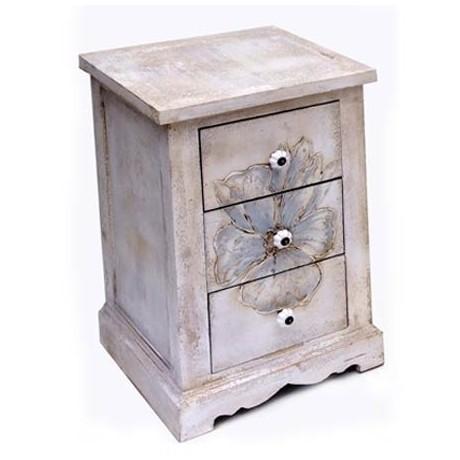 Comprar mesita de noche en madera blanca envejecida con - Mesitas de noche en madera ...