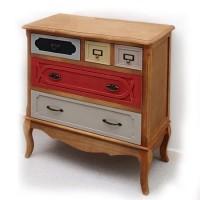 Cómoda retro en madera con cinco cajones de colores
