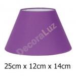 Pantalla de lámpara color morado con forma cónica de 25 cm