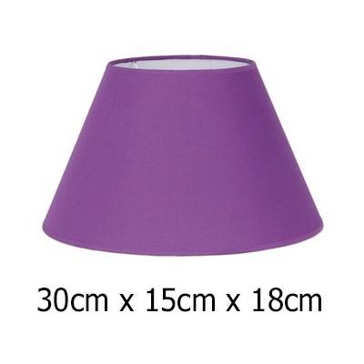 Pantalla lámpara tejido Cotonet en morado de forma cónica 30 cm