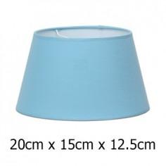 Pantalla de lámpara cónica abierta en azul claro tejido Cotonet de 20 cm