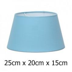 Pantalla de lámpara en azul claro cónica abierta de 25 cm