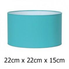 Pantalla para lámpara en color aguamarina con forma cilíndrica de 22 cm