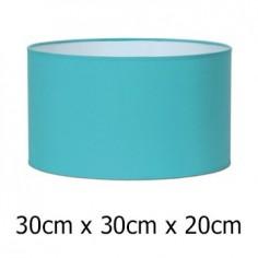 Pantalla para lámpara en color turquesa con forma cilíndrica de 30 cm