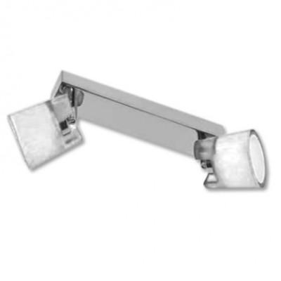 Regleta dos luces y decorado en cromo y cristal translucido