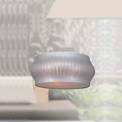 Lámpara colgante Felicia con pantalla de tiras en plata