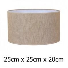Pantalla de lámpara en color marrón con formato cilíndrico de 25 cm