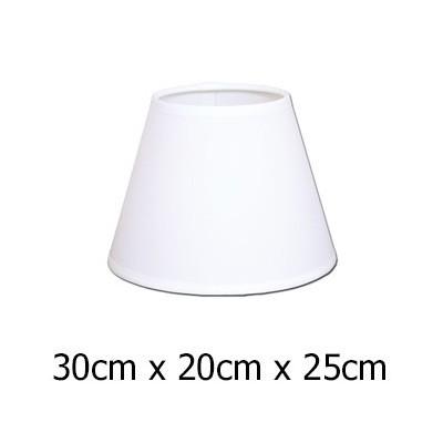 Pantalla para lámpara color blanco en raso plástico de 30 cm