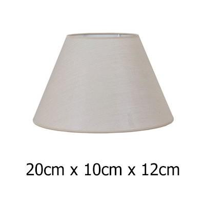 Pantalla para lámpara en color piedra con formato cónico de 20 cm