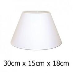 Pantalla de lámpara cónica en Raso plástico color blanco de 30 cm