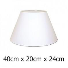 Pantalla de lámpara blanca cónica en Raso plástico de 40 cm