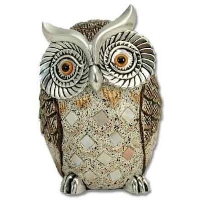 Figura en resina de búho en plata y marrones