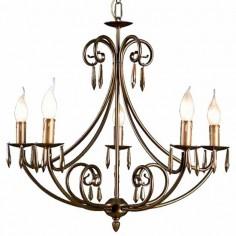 Lámpara de techo Alena estilo clásico con seis brazos en color envejecido