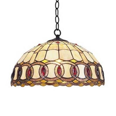 Lámpara de techo Tiffany Chain con cristales crema ocre y rojo