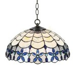 Lámpara de techo Tiffany serie Blue con pantalla de cristal con flores