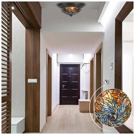 Comprar Plafón de techo Tiffany serie Juncos en cristales multicolor