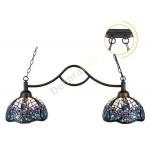 Lámpara Tiffany de dos luces serie Floral con cristales de colores