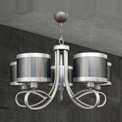 Lámpara de techo de cinco luces en níquel y acero