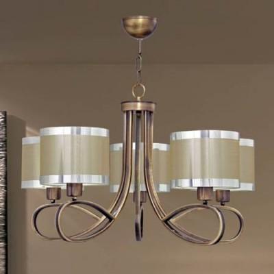 Lámpara de techo de cinco luces en colores cuero y champagne